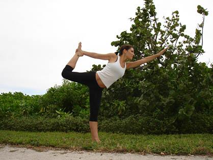 bikram standing bow pulling pose