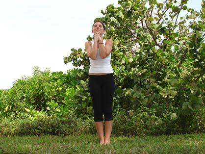 bikram standing deep breathing pose
